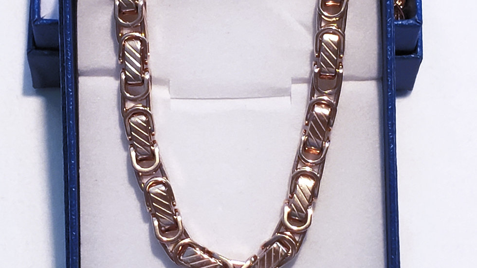 Borobudur styled necklace in plated rose gold over stainless steel 20 inch