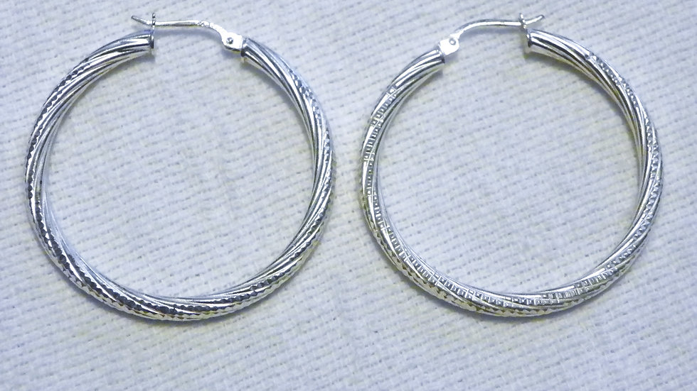 Sterling Silver Nickel Free Hoop Earrings 35 mm round 2.7 mm thick Condition:New