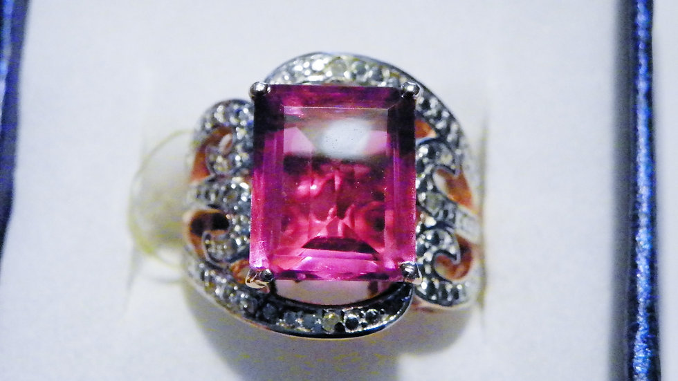 Lilac Quartz (7.10ct) & dia (.03ct) ring in 14K RG over Sterling Silver sz 7
