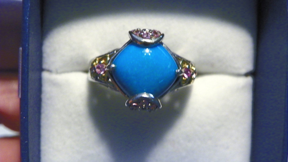 Arizona Sleeping Beauty Turquoise & Pink Sapphire ring in 14K YG & Plat/925 Sz 8