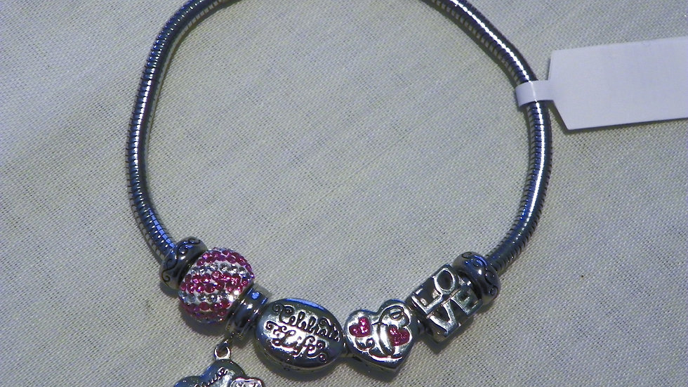 Euro snake charm bracelet with 5 charms 7 1/2 inches