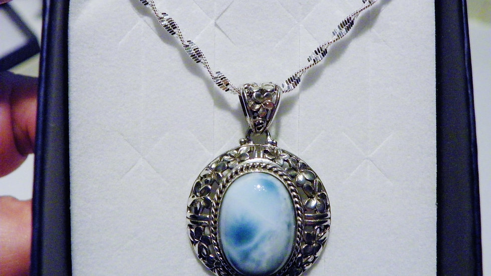 Larimar (11.81 cts) Pendant set in Nickel Free Sterling silver w/ 20 inch chain
