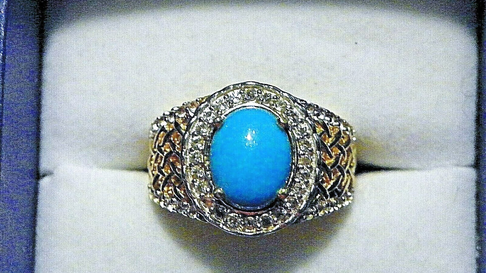 Sleeping Beauty Turquoise/White Topaz ring (2.8cts) in 14K YG over Sterling sz 7