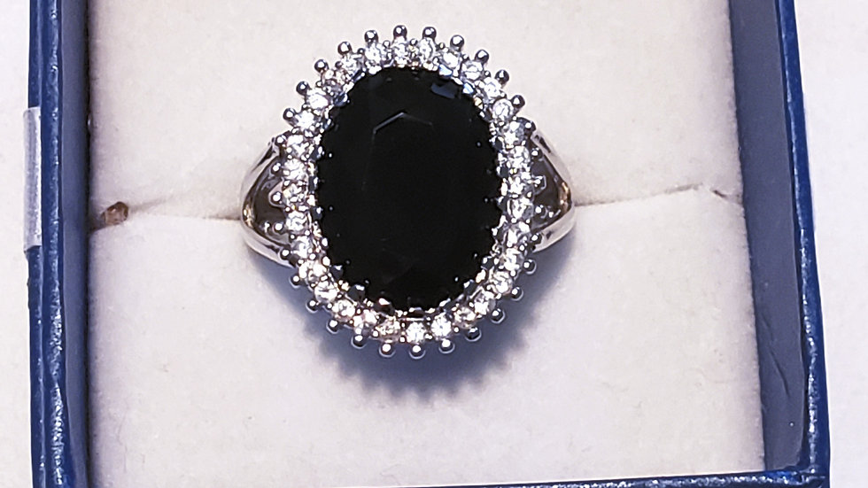 Black Agate and White Sapphire halo ring TCW 11 cts in 925 Sterling sz 9 1/2