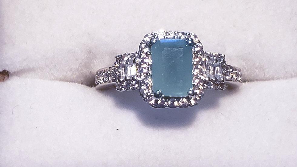 Grandidierite & White Zircon halo ring 1.57 cts in Platinum/925 Sterling size 5