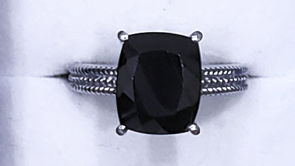 Australian Black Tourmaline ring 5.50tcw set in 316L surgical stainless steel