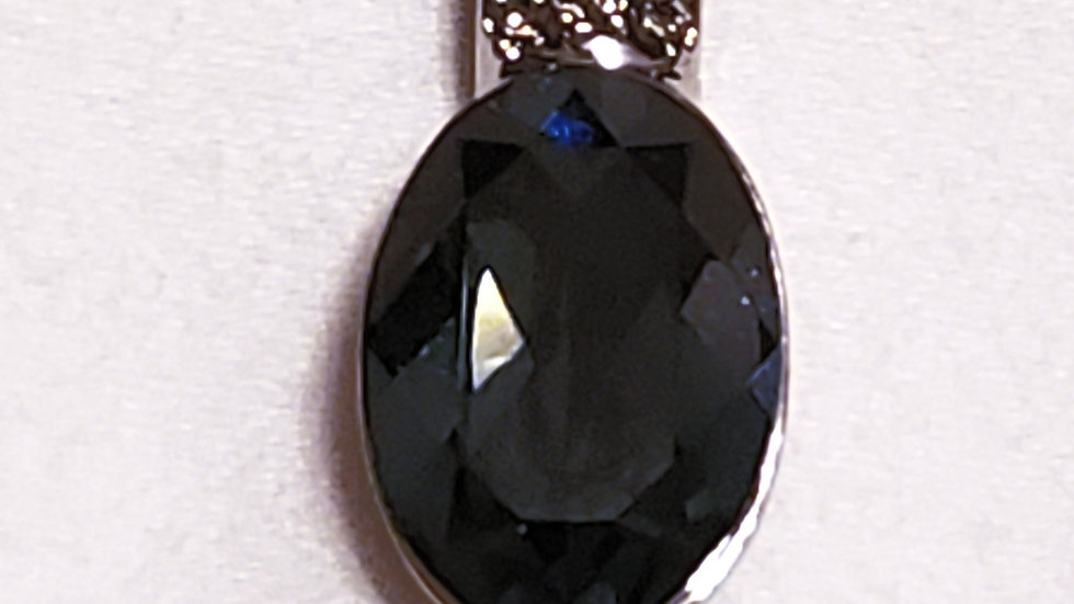 Swarovski London Blue crystal pendant 14 mm x 10 mm w/18 inch adjustable chain
