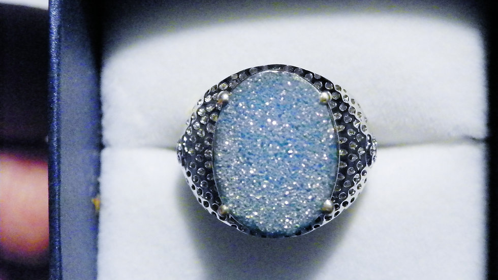 Blue Druzy (8.25ct) ring in Platinum over Sterling Silver size 6