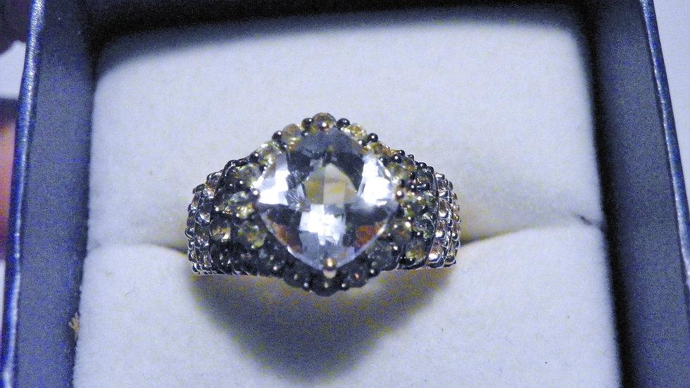 Kunzite, Dementoid Garnet & White Topaz ring (5.08ct) in 14K RG over 925 size 9