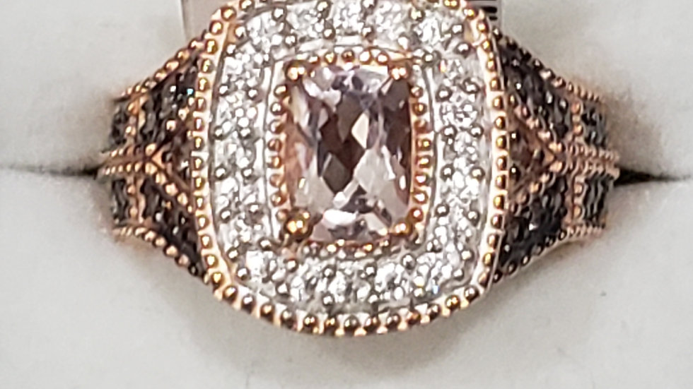 Marropino Morganite, White & Coffee Zircon ring in Rose Gold/925 SS 1.65ct sz 7