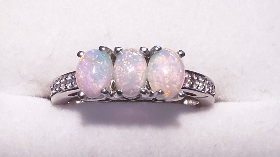Ethiopian Welo Opal & White Zircon 3 stone ring in Platinum over 925 SS size 6