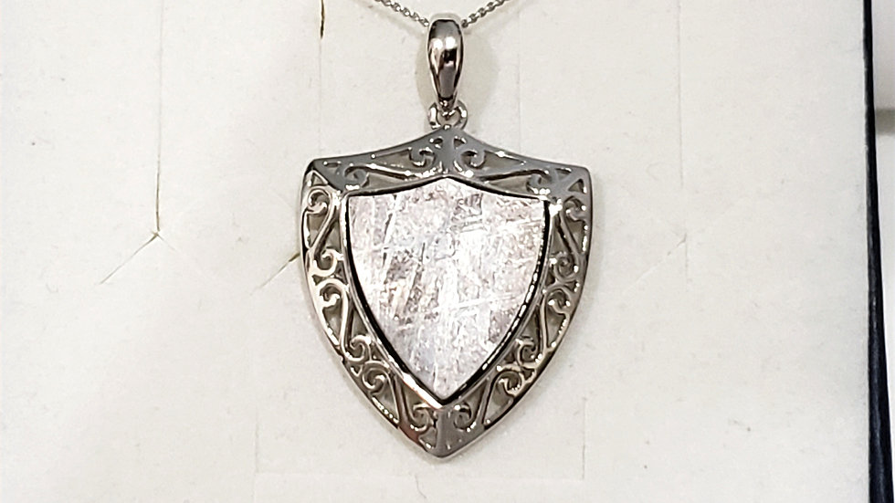 Meteorite unisex pendant necklace set in 925 Sterling Silver w/20 in chain