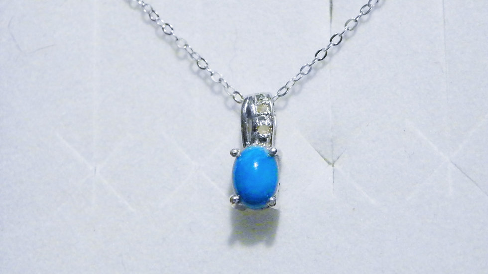 Sleeping Beauty Turquoise(.75ct)& dia(.01ct)pendant in Platinum/925 20 in chain