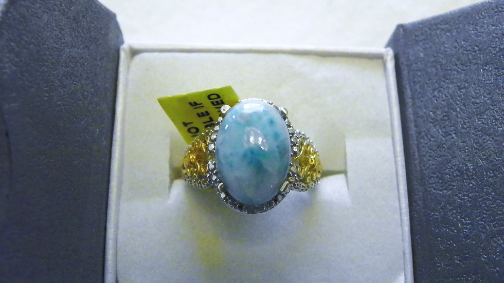 Larimar (5.65ct) & dia(.03ct) ring in 14K YG & Plat/Sterling sz 7