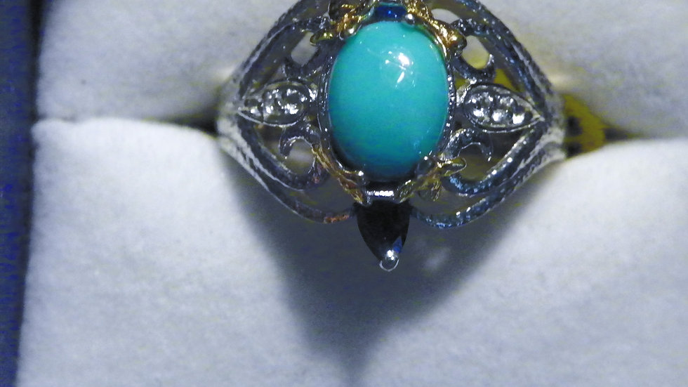 Arizona Sleeping Beauty Turquoise, Neon Apatite & White Topaz ring 1.88 ct sz 7