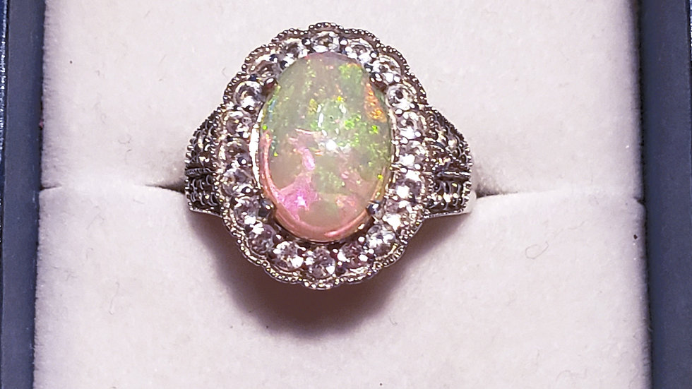 Natural Ethiopian Welo Opal & white zircon halo ring in platinum over 925 sz 8