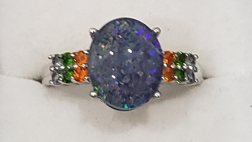Australian Boulder Opal & gemstone ring in 925 Sterling Silver 3.40 tcw sz 9