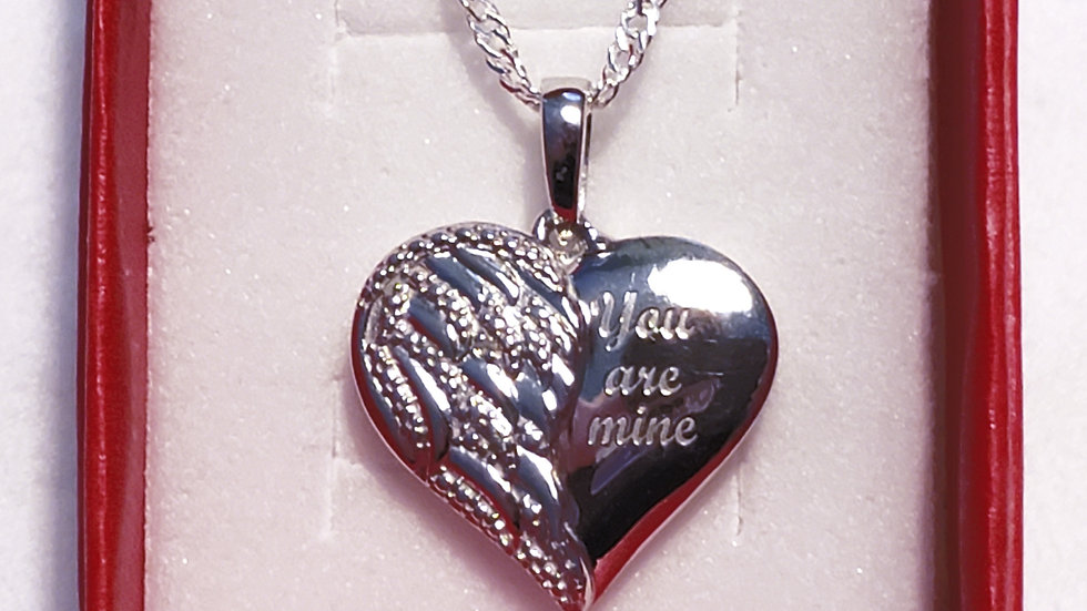 """You are mine"" heart/angel wing pendant in 925 Sterling Silver w/diamond accent"