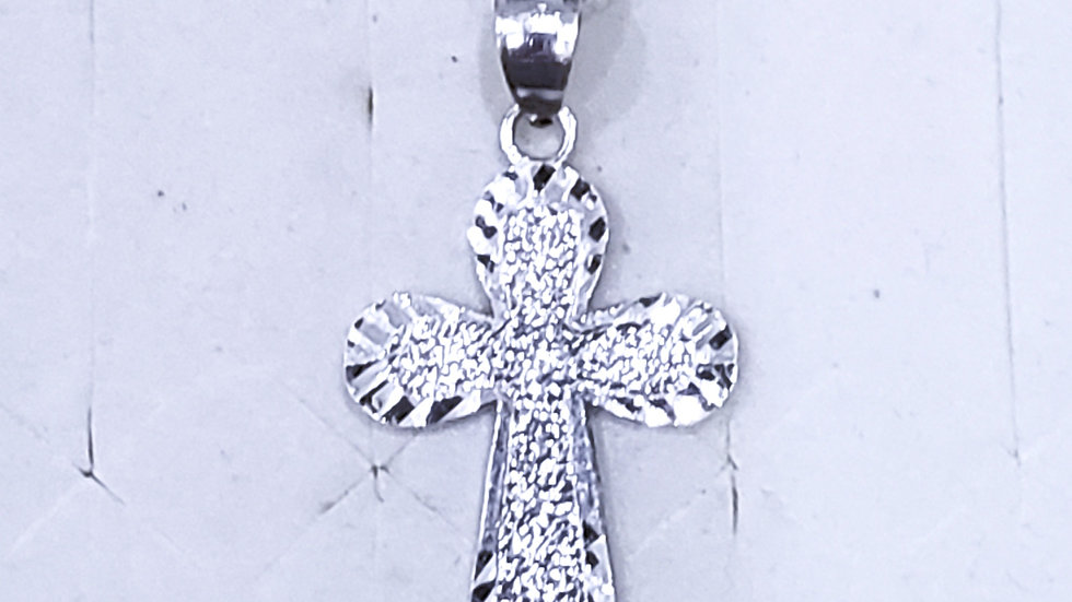 Sterling Silver diamond cut cross necklace 18 inches