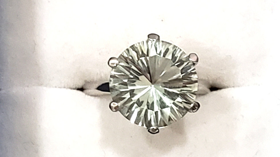 """""""Simply Solitaire"""" Prasiolite (green amethyst) ring in Platinum over 925 sz 6"""