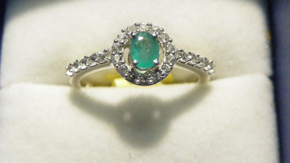 Premium Brazilian Emerald & White Zircon halo ring in Platinum over 925 size 9