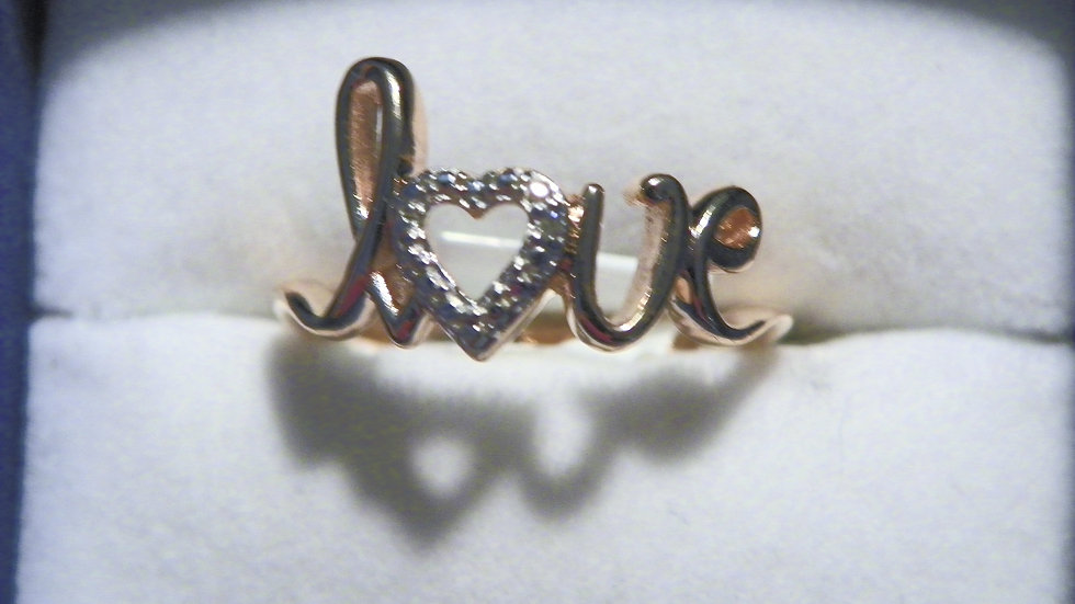14K Rose Gold over 925 Sterling Love ring w/dia accent sz 5