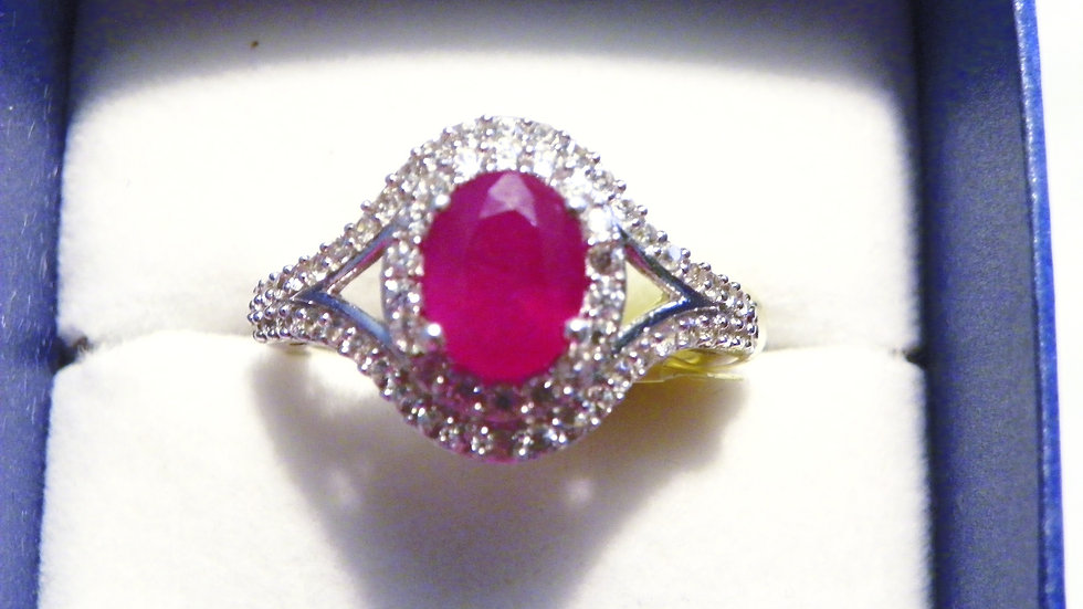 Ruby & Cambodian White Zircon halo ring (3.43ct) in Platinum over 925 size 10