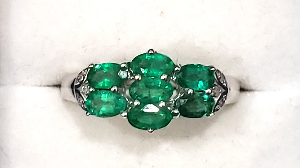 AAA Zambian Emerald & dia accent ring in Rhodium over 925 SS 1.60 ct sz 8