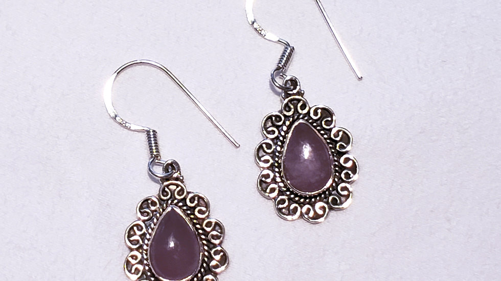 Artisan Lavender Jade (4.19ct) earrings nickel free Sterling Silver