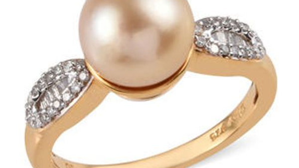 South Sea Golden Pearl 10mm & Diamond .25ct ring in Yellow Gold Vermeil over 925
