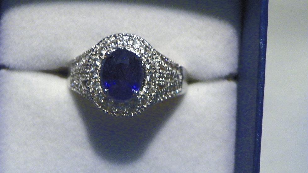 Midnight Blue/black Sapphire & White Zircon halo ring in Rhodium over 925 sz 10