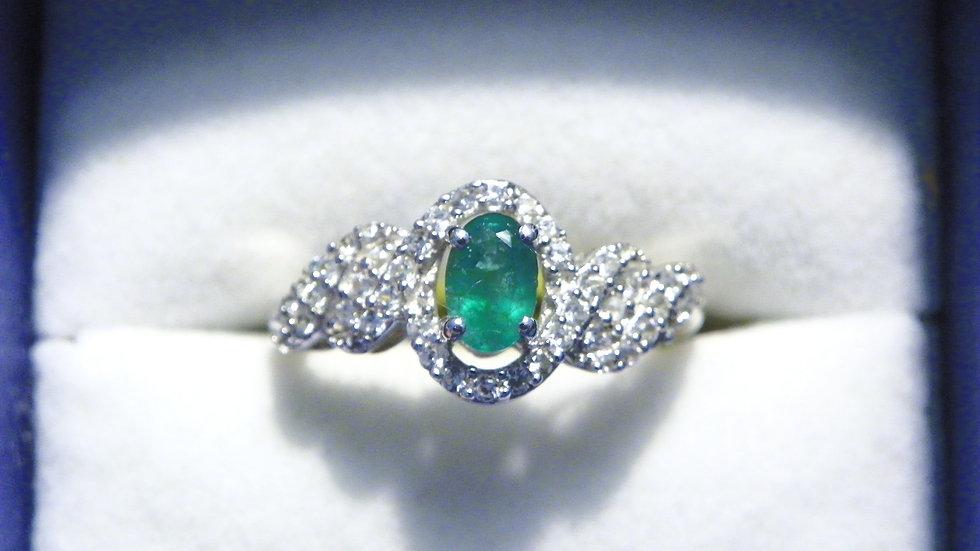 AAA Premium Brazilian Emerald & White Zircon ring in Platinum over 925 size 7