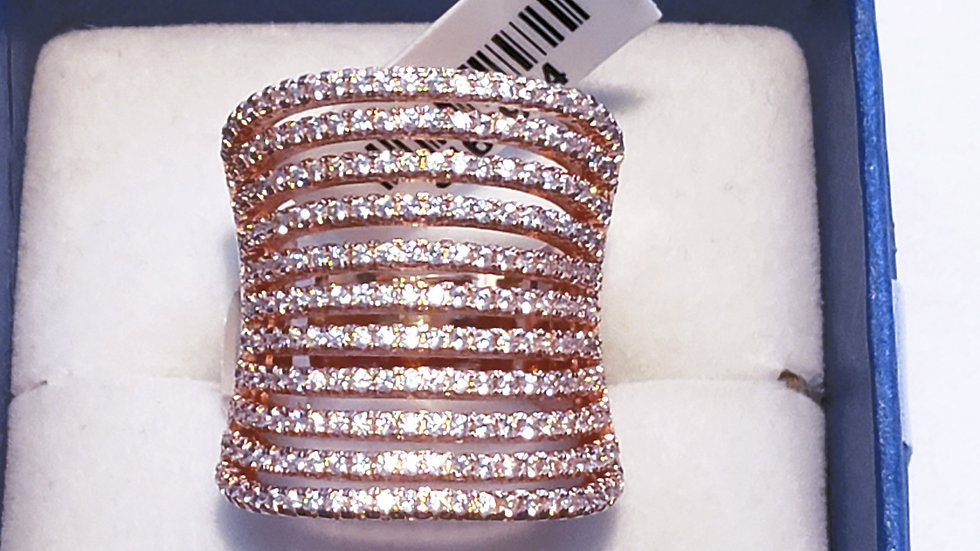 Cubic Zirconia concave knuckle to knuckle fancy ring in rose tone 3.66 cts sz 6