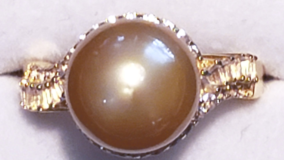 South Sea golden pearl & white topaz ring 11.2mm round in YG over 925 SS sz 7