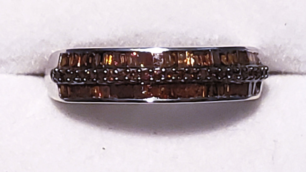 Natural red diamond band ring (.50ct) in rhodium over 925 sterling sliver size 7
