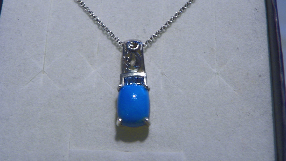 Arizona Sleeping Beauty Turquoise & Blue Topaz pendant 925 w/ 20 in chain 2.01ct