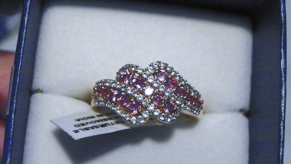 Rare Madagascar Purple Sapphire & Zircon ring in 14K RG over 925 1.58 ct sz 8