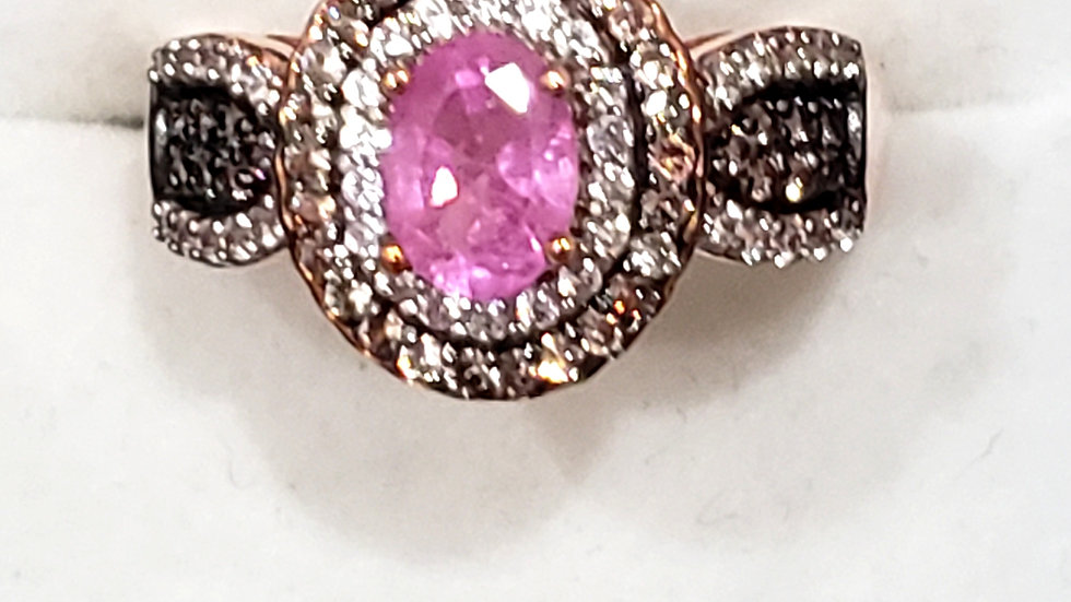 Natural Pink Sapphire & Zircon double halo ring in 14K Rose Gold over 925 sz 6