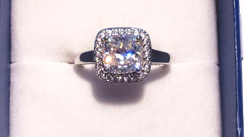 Strontium Titanate & Zircon engagement/promise halo ring in rhodium/925 SS sz 8