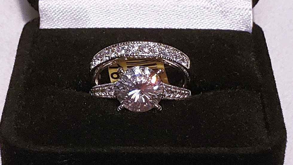 High Quality Cubic Zirconia Wedding Set in Rhodium over Sterling Silver sz 7