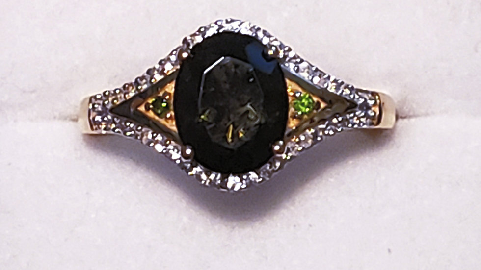 Faceted Moldavite,Zircon & Russian Diopside ring in 14K YG over 925 Silver sz 8