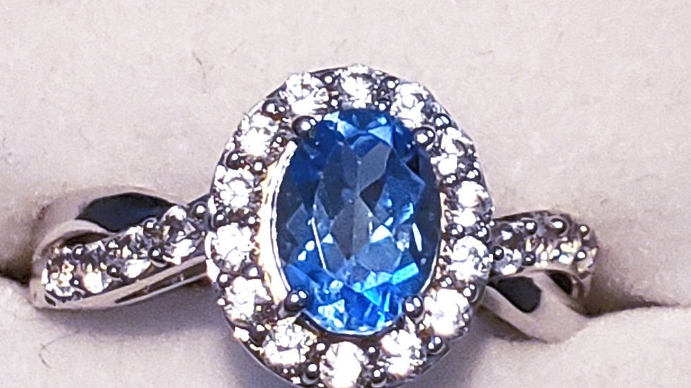 Swiss Blue Topaz and White Sapphire halo ring in rhodium over 925 sterling sz 7