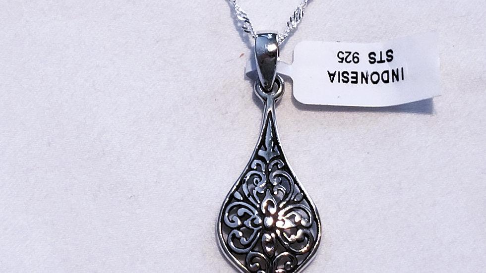 """Bali styled teardrop pendant 2.95 grams w/925 sterling silver w/20"""" 925 chain"""