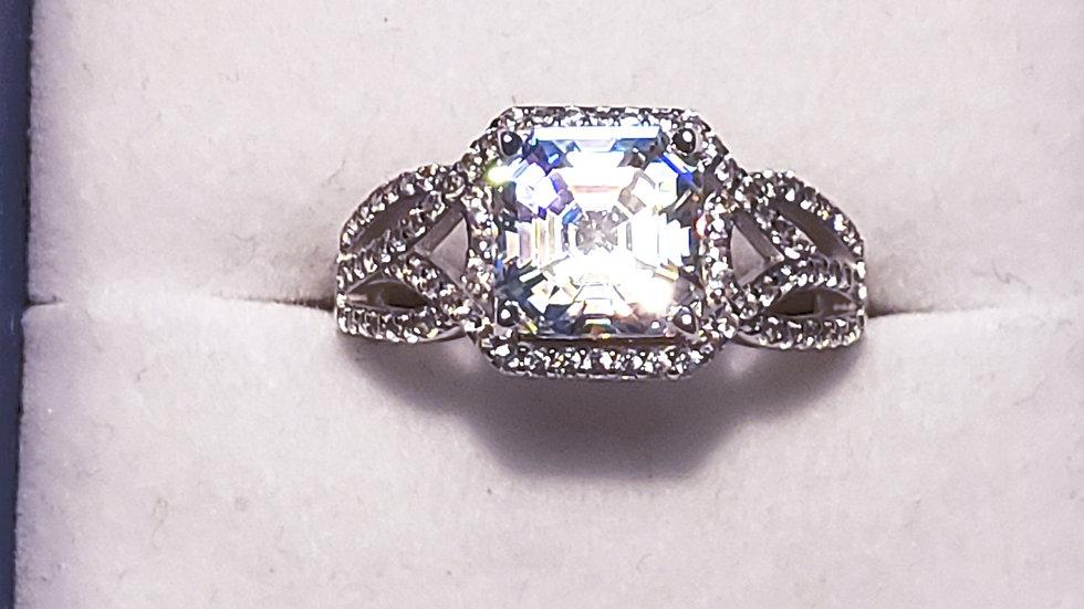 Strontium Titanate & Zircon engagement/promise ring in rhodium over 925 sz 8