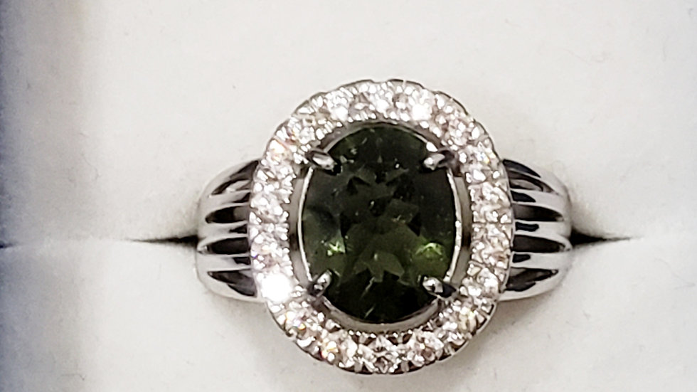 Natural Moldavite and White Zircon halo ring set in 925 Sterling Silver 3.5 cts