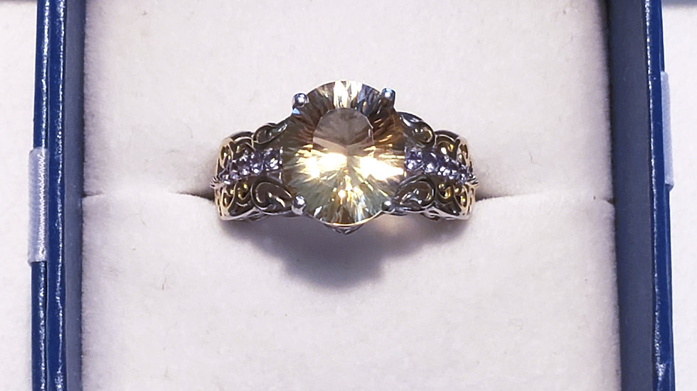 Citrine & Tanzanite ring 4.40 cts in 14K YG & platinum over 925 sterling sz 8