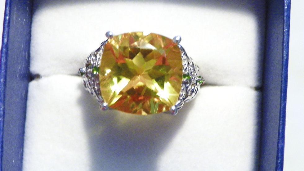 Fire Opal colored quartz, russian diopside & garnet accent ring 11.03 ct size 8