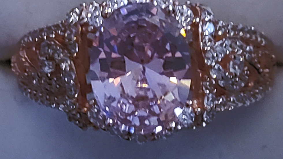 Pink & White Cubic Zirconia fancy ring in 18K Rose Gold over 925 Sterling sz 6