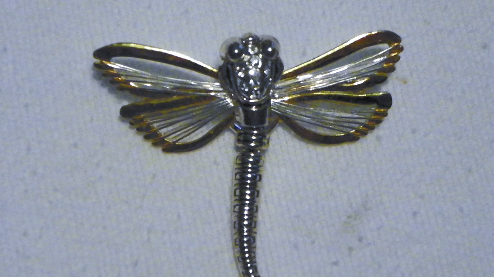 Dragonfly brooch/slide in goldtone & silvertone w/CZ accents