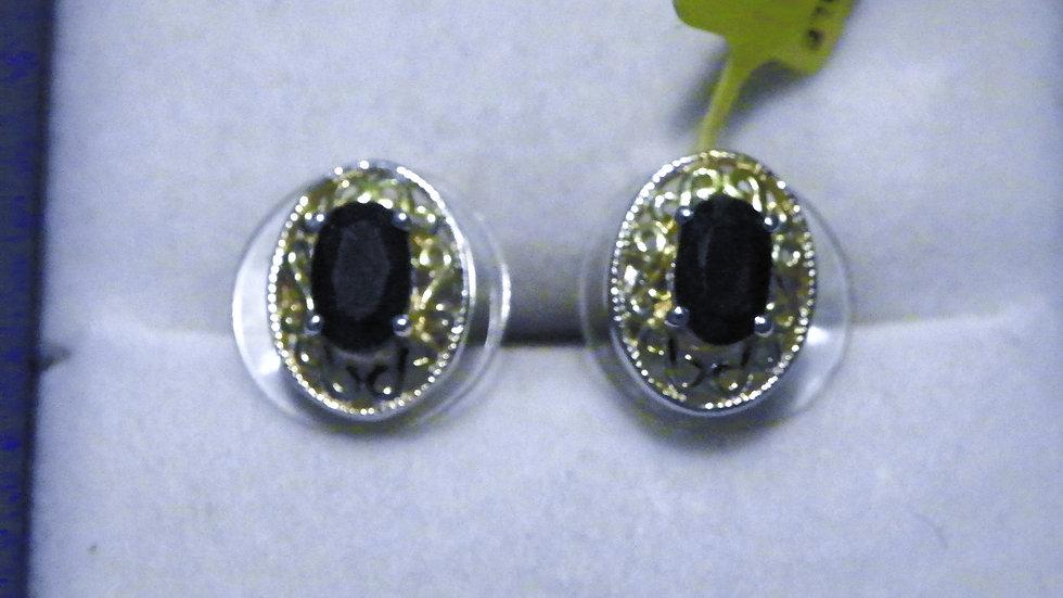 Black Sapphire stud earrings (1.24 ct) set in 14K YG & Platinum/925